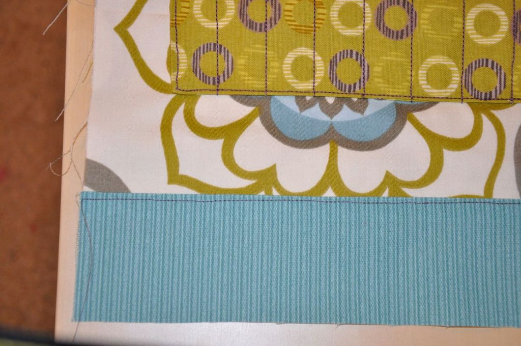 bottom grommet piece attached and top stitched