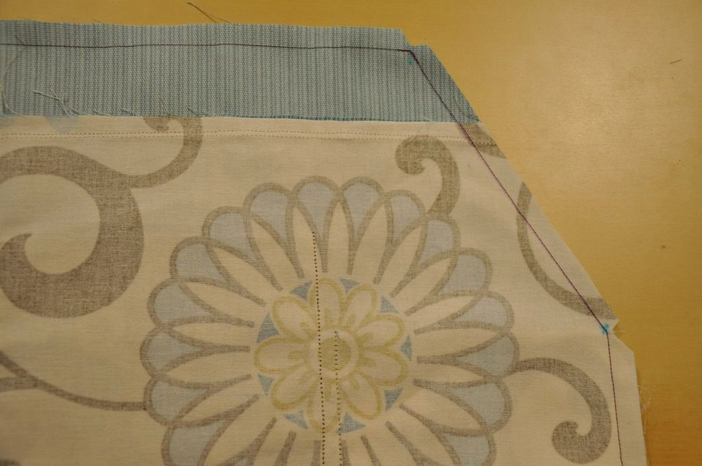 sewn front to back panel with trimmed edge